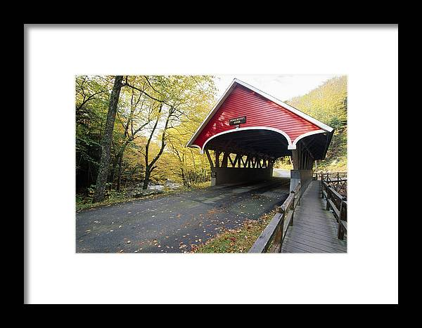 Architecture Framed Print featuring the photograph Flume Bridge Lincoln New Hampshire by George Oze