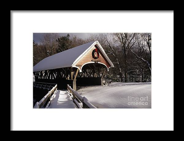 Franconia Notch State Park Framed Print featuring the photograph Flume Covered Bridge - Lincoln New Hampshire Usa by Erin Paul Donovan