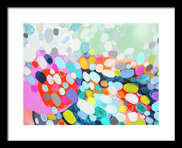 Abstract Framed Print featuring the painting Flushed by Claire Desjardins