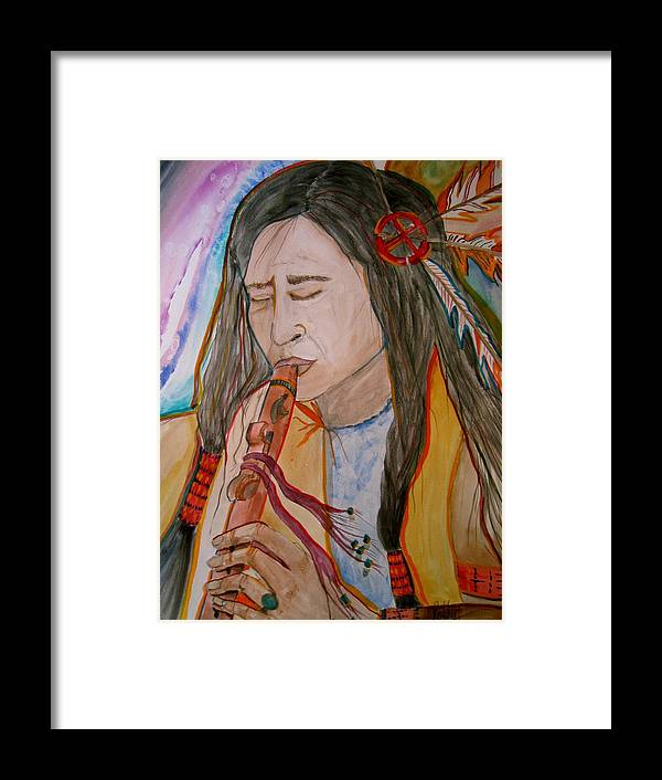 Original Art Framed Print featuring the painting Flute Player by K Hoover