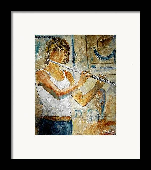 Music Framed Print featuring the painting Flutist by Pol Ledent