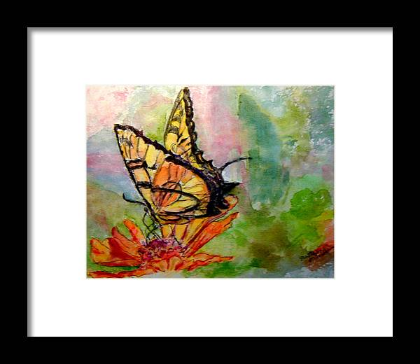 Butterfly Framed Print featuring the painting Flutterby - Watercolor by Donna Hanna