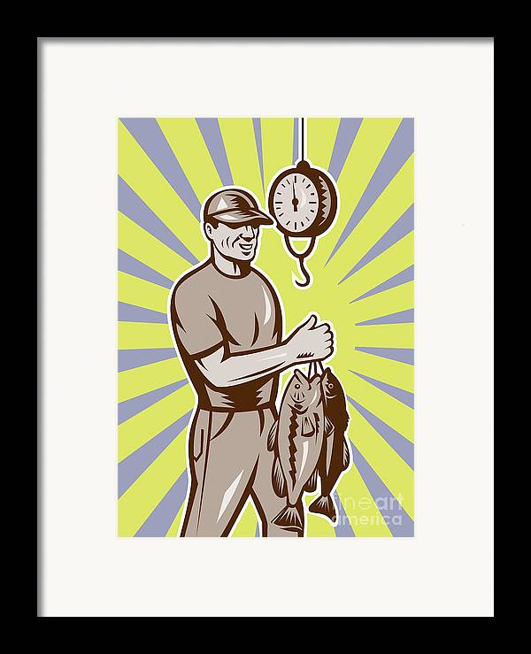 Largemouth Framed Print featuring the digital art Fly Fisherman Weighing In Fish Catch by Aloysius Patrimonio