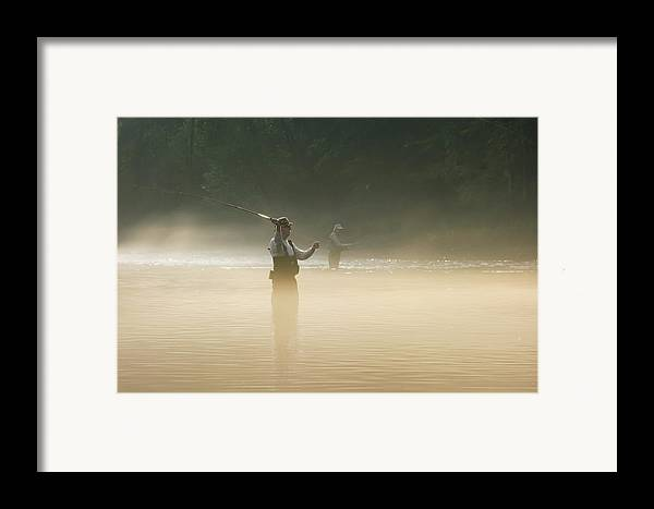 Man Framed Print featuring the photograph Fly Fishing by Betty LaRue