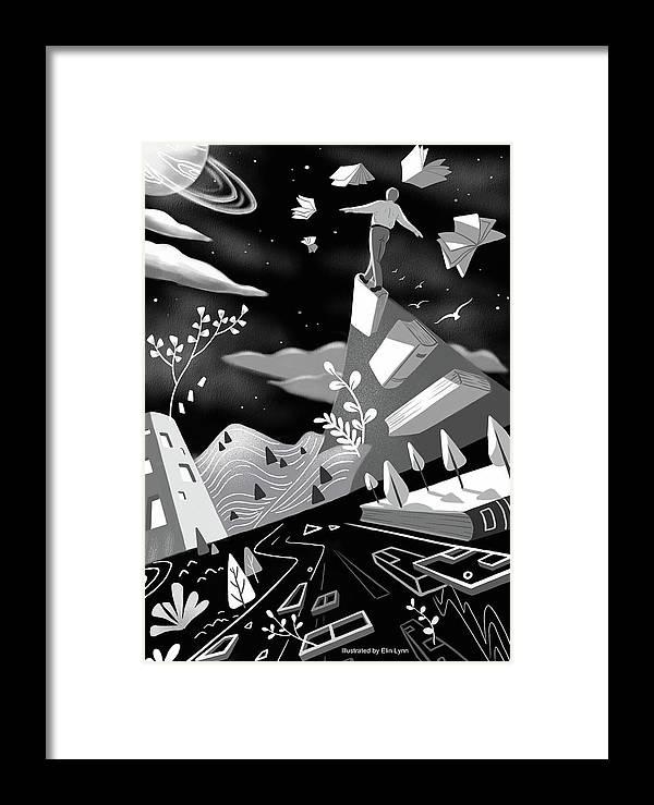 Illustration Framed Print featuring the digital art Fly High by Elin Lynn