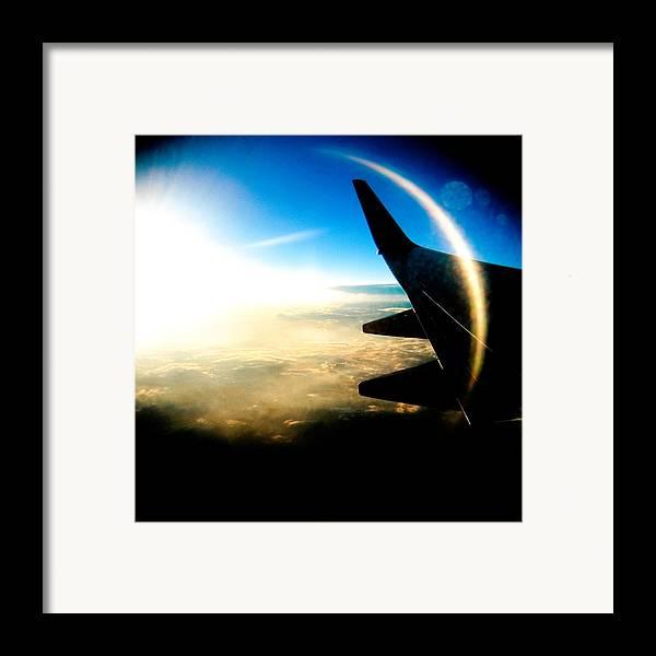 Plane Sky Sun Holga Color Photograph Framed Print featuring the photograph Fly Like A Dolphin by Olivier De Rycke