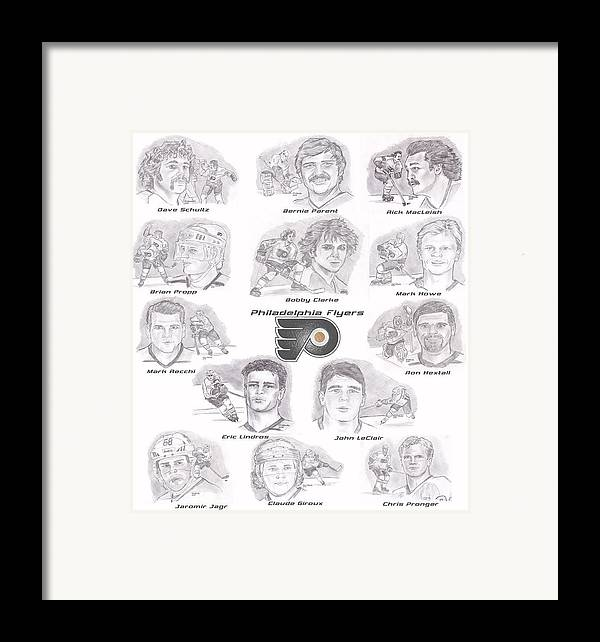 Philadelphia Flyers Framed Print featuring the drawing Flyer Greats by Chris DelVecchio
