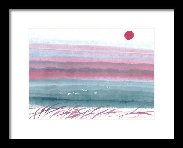 A Flock Of Birds Flying Across The Water At Dawn. This Is A Contemporary Chinese Ink And Color On Rice Paper Painting With Simple Zen Style Brush Strokes.  Framed Print featuring the painting Flying Across by Mui-Joo Wee