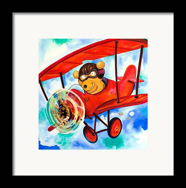 Bear Framed Print featuring the painting Flying Bear by Scott Nelson