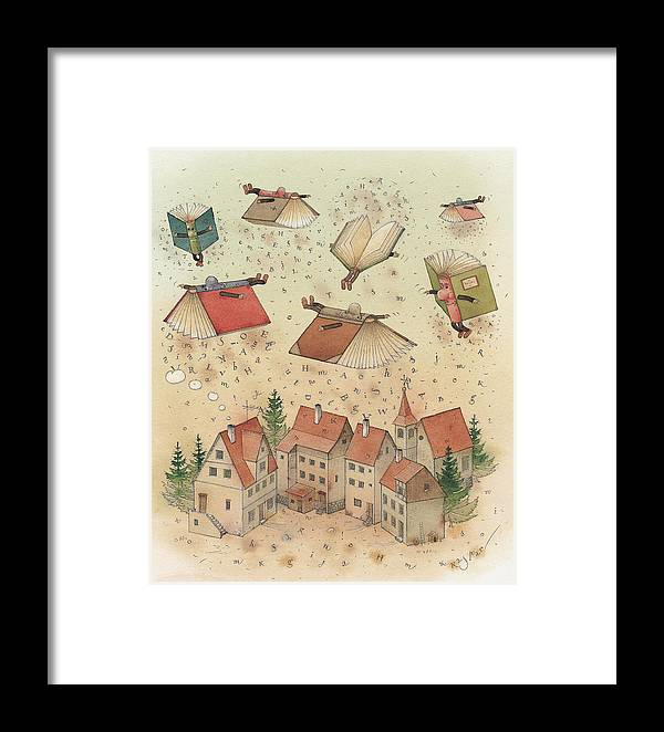 Books Town Flying Alphabet Framed Print featuring the painting Flying Books by Kestutis Kasparavicius