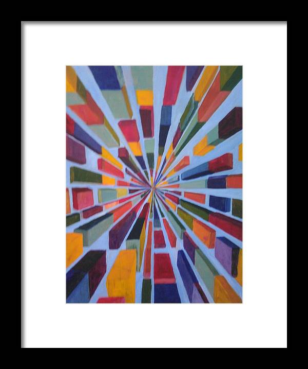Non Representational Art Framed Print featuring the painting Flying box by Andrew Johnson