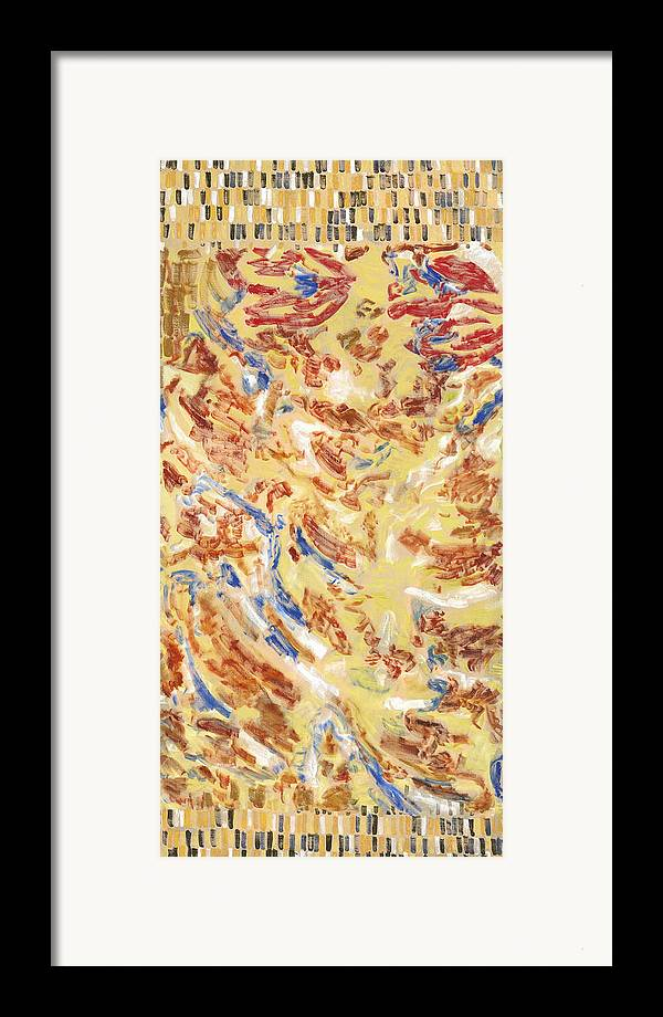 Abstract Carpet Yellow Red Pattern Blue Ochre Exotic Framed Print featuring the painting Flying Carpet by Joan De Bot