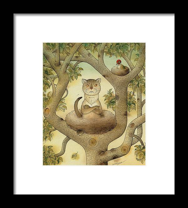 Tree Nest Cat Bird Landscape Sky Framed Print featuring the painting Flying Cat by Kestutis Kasparavicius