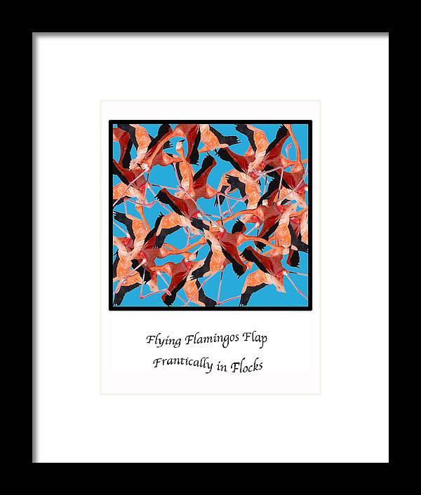 Digital Art Framed Print featuring the digital art Flying Flamingos by Lois Boyce