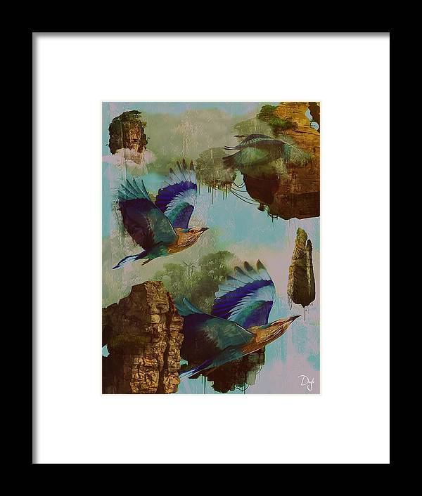 Surreal Islands Giant Birds Framed Print featuring the mixed media Flying Islands by Patricia DOYLE Olson