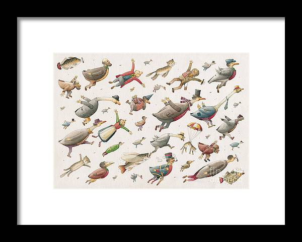 Sky Birds Flying Airplane Framed Print featuring the painting Flying by Kestutis Kasparavicius