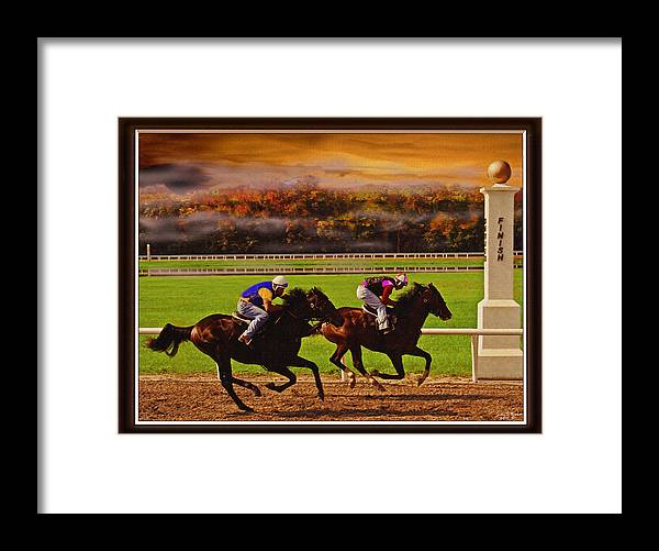 Race Horses Thoroughbred Horses Animals Framed Print featuring the painting Flying Low by John Breen