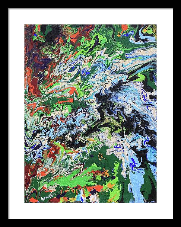 Abstract Expressionism Framed Print featuring the painting Flying North Over The Gulf by Art Enrico