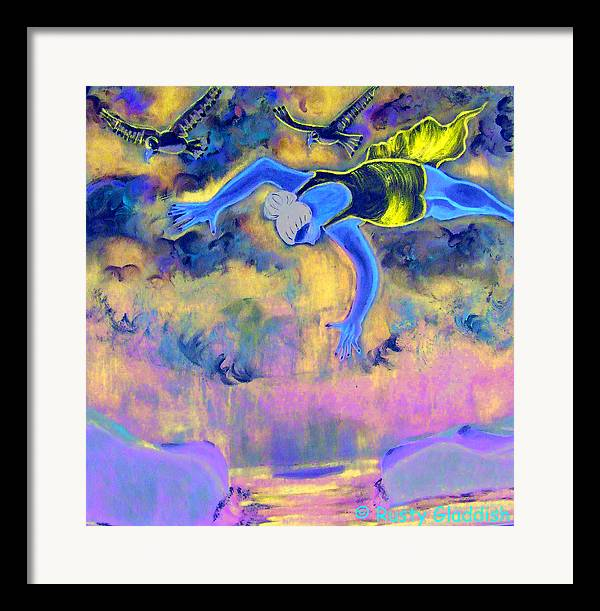 Dreams Framed Print featuring the painting Flying Over Seas by Rusty Woodward Gladdish
