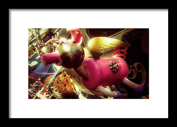 Flying Pig Framed Print featuring the photograph Flying Pig by Shirley Anderson