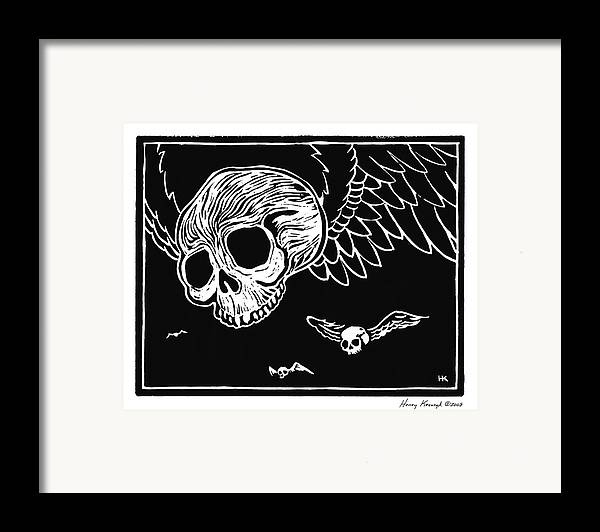 Krauzyk Framed Print featuring the print Flying Skulls by Henry Krauzyk