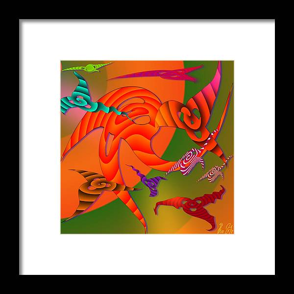 Triangles Framed Print featuring the digital art Flying Triangles by Helmut Rottler