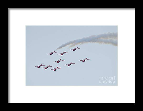 Canada Snowbirds Framed Print featuring the photograph Flying Upside Down by Sheila Lee