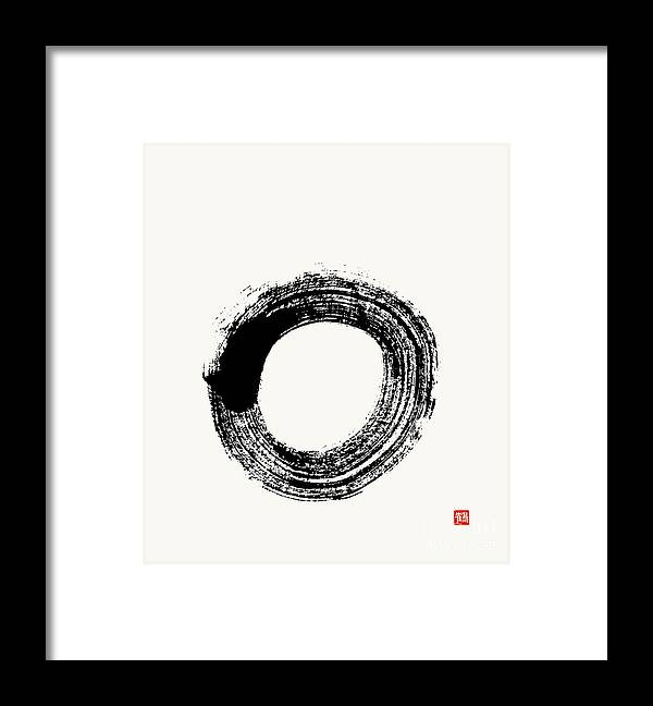 Enso Framed Print featuring the painting Flying White Zen Enso Circle by Nadja Van Ghelue