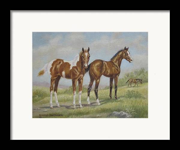 Framed Print featuring the painting Foals In Pasture by Dorothy Coatsworth