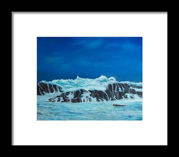 Seascapes Framed Print featuring the painting Foamy by Tony Rodriguez