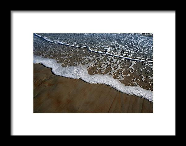 Beach Sand Wave Waves Foam Foamy White Sunny Clear Water Ocean Framed Print featuring the photograph Foamy Water by Andrei Shliakhau