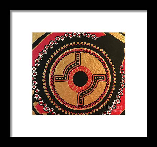 Red; Black; Gold; Eye; Asian; Focus; Samurai; Wall Art; Ready To Hang; Mandala Framed Print featuring the painting EYE by Angelica O'Rourke