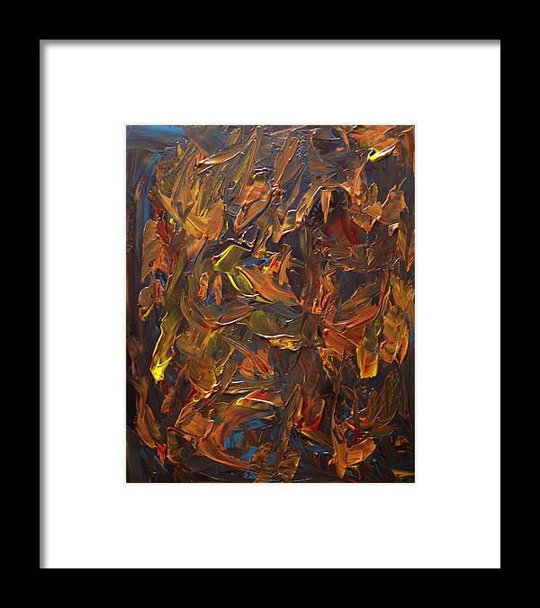 Abstract Framed Print featuring the painting Focused And Fuming by Karen L Christophersen