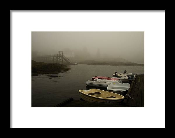 Atlantic Framed Print featuring the photograph Fog And Dingies In Cape Harbor Maine On A Misty Morning by Mark Emmerson