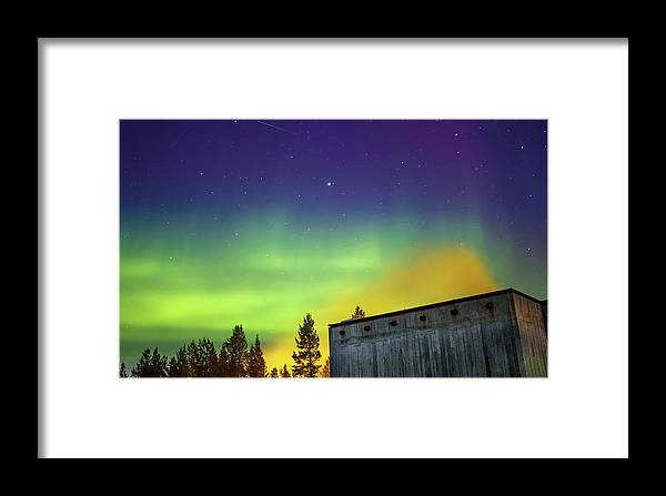 Landscape Framed Print featuring the photograph Fog And Northern Lights At Sapmi Museum Karasjok Norway by Adam Rainoff