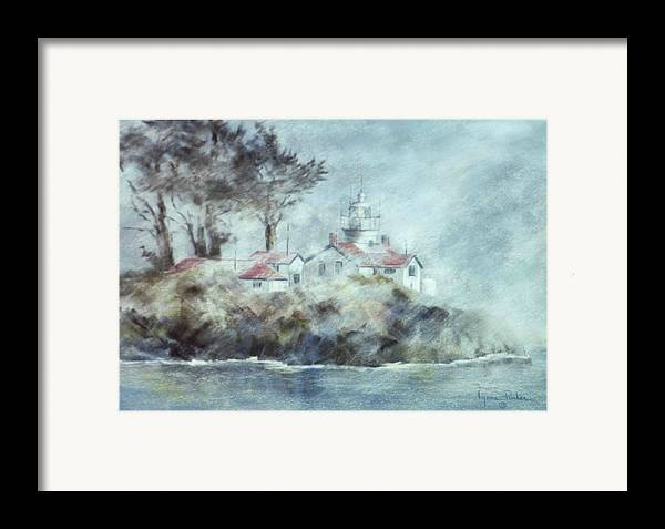 Lighthouse Framed Print featuring the painting Fog At Batterypoint Lighthouse by Lynne Parker