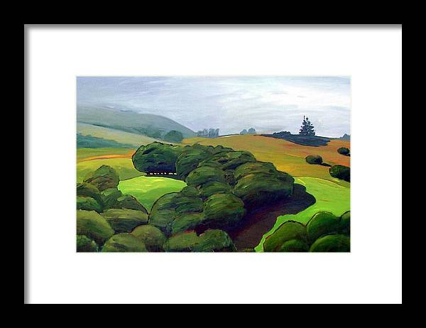 Fog. Trees. Landscape. Framed Print featuring the painting Fog Comes In by Gary Coleman