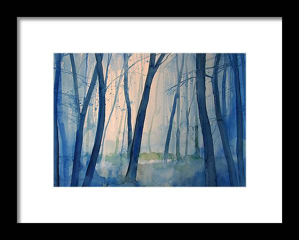 Tree Framed Print featuring the painting Fog in the forest by Alessandro Andreuccetti