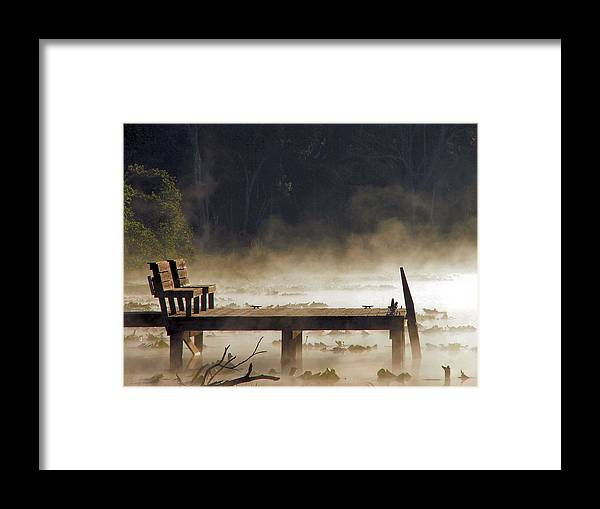 Water Framed Print featuring the photograph Fog On Lake Jeffords by Judy Waller