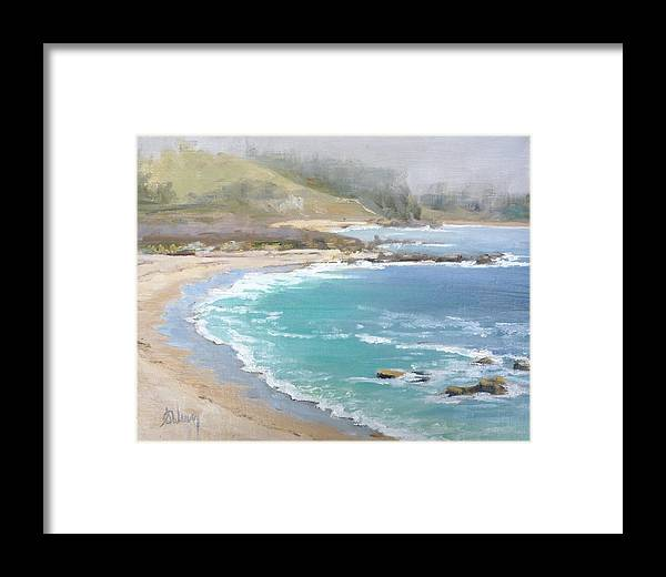 Landscape Framed Print featuring the painting Fog On The Coast by Sharon Weaver