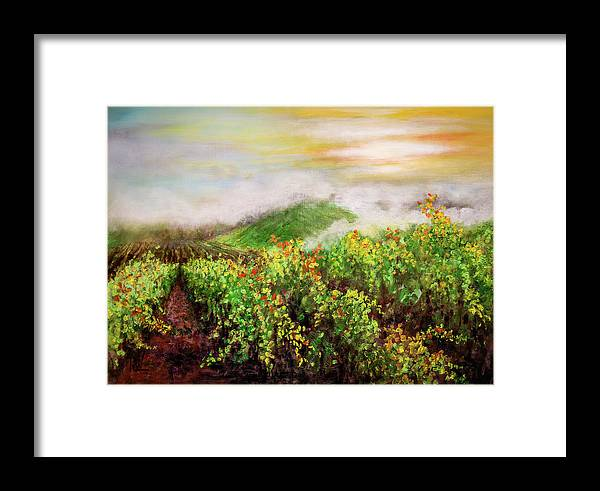 Landscape Framed Print featuring the painting Fog On The Vines by Philip Lodwick Wilkinson