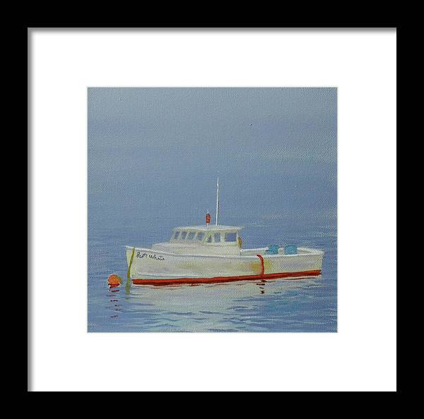 Beach Seascape Water Ocean Sea Boat Harbor Lobster Fog Artist Scott White Framed Print featuring the painting Fogged In by Scott W White