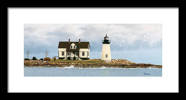 Lighthouse Framed Print featuring the drawing Foggy Guardian by Brent Ander