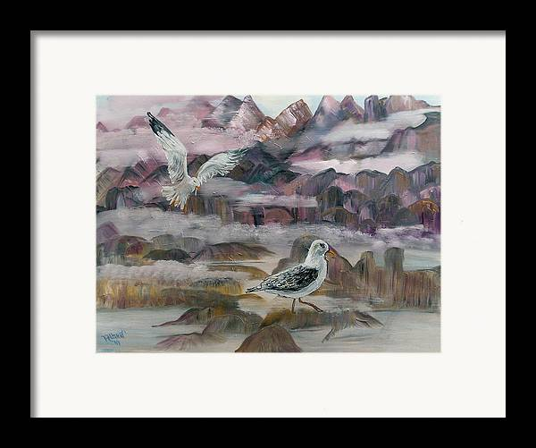 Seagulls Framed Print featuring the painting Foggy Gulls by Mikki Alhart