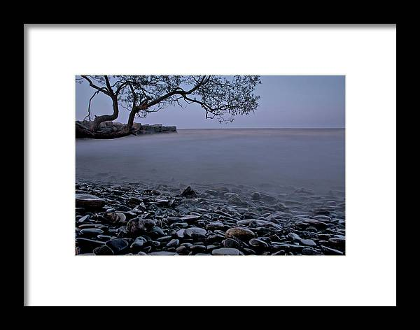 Mystic Lake Framed Print featuring the photograph Foggy Lake At Night by Andre Distel