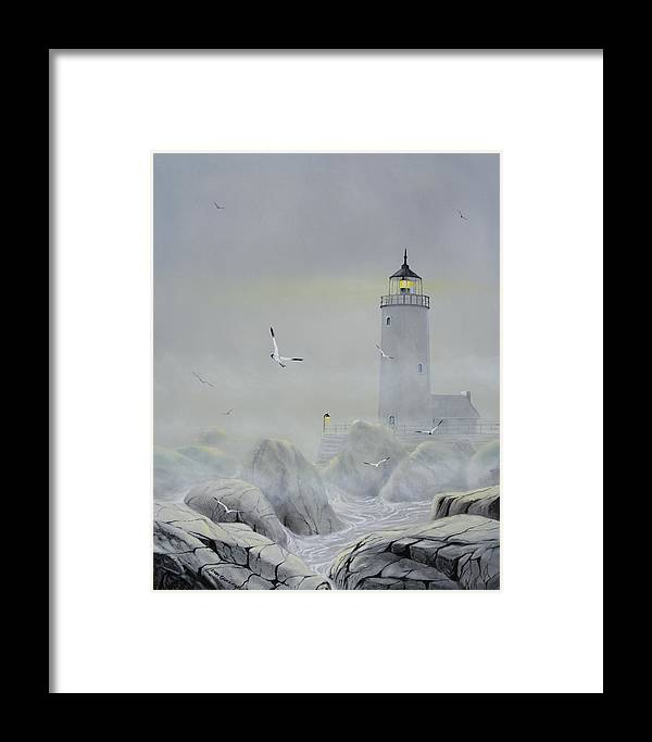 Seascape Framed Print featuring the painting Foggy Light by Don Griffiths