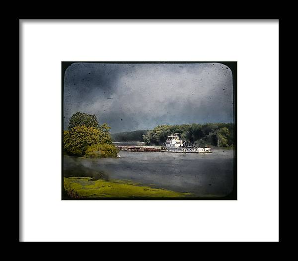 Landscape Framed Print featuring the photograph Foggy Morning At The Barge Harbor by Al Mueller