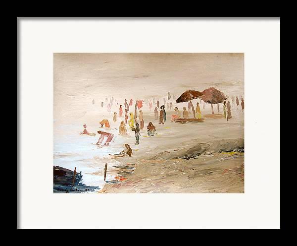 Varanasi Framed Print featuring the painting Foggy Morning At The Ghats by Art Nomad Sandra Hansen