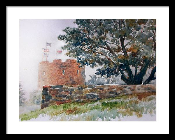 Painting;fog;landscape;maine;tree;stone Wall;flags;fortress; Framed Print featuring the painting Foggy Morning In Maine by Don Getz