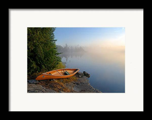 Boundary Waters Canoe Area Wilderness Framed Print featuring the photograph Foggy Morning On Spice Lake by Larry Ricker